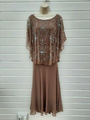 Evening,party Dress,beaded Cape,20's,30's,40's,60's,70's Vintage Style,size 14 • 14.99£