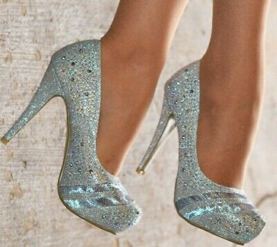 Silver Sparkle Dimonte Top Heels Wedding Party Size 5/38 Shoes Worn 2hours  • 10.98£