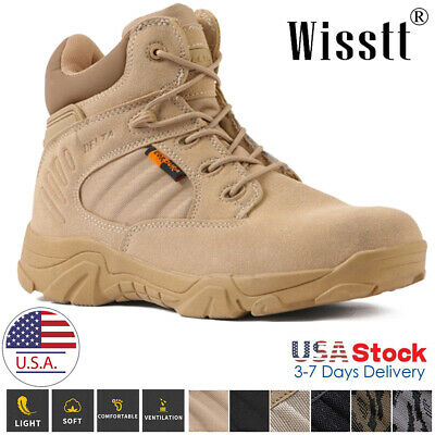 $39.99 • Buy Men's Military Tactical Work Boots Side Zip Juggle Ankle-Mid Hiking Combat Boots