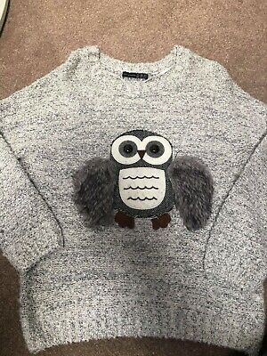 Lovely Grey Ladies Owl Jumper    Size 8 • 2.99£