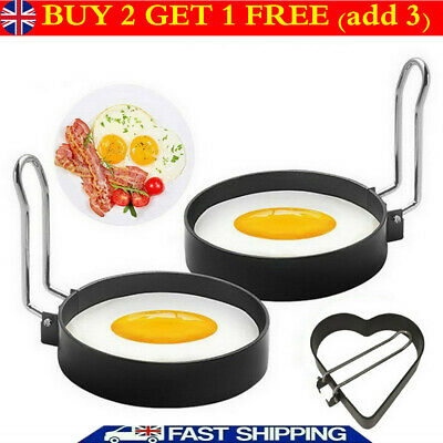 1/2/4 Metal Egg Frying Rings Perfect Circle Round Fried Poach Mould + Handle • 4.39£