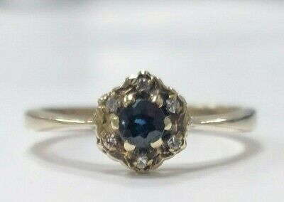 9ct Yellow Gold & Sapphire Ring 1.78G - Fully Hallmarked Size: L1/2 • 80£