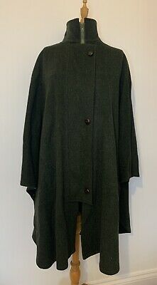 Hucclecote Tweed Wool Blend Cape Coat Green Country Shooting Jacket VTG • 30£