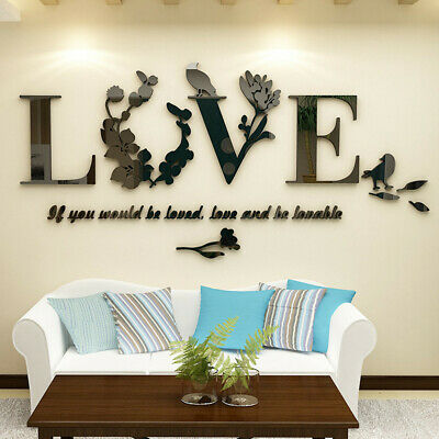 Stylish Wall Removable 3D Leaf LOVE Wall Sticker Art Vinyl Decals Bedroom Decor • 4.69£