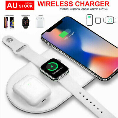 AU23.88 • Buy 3 In 1 QI Charger Station Dock For Apple Watch IPhone 12/ 12 MIni 11 Pro Airpod