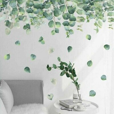 Green Branch With Purple Flowers Wall Art Stickers Leaves Decal Nursery Decors • 8.59£