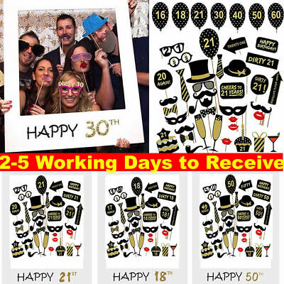 £3.39 • Buy 16/18/30/40/50/60th 21st Frame Photo Booth Props Happy Birthday Paper Party UK