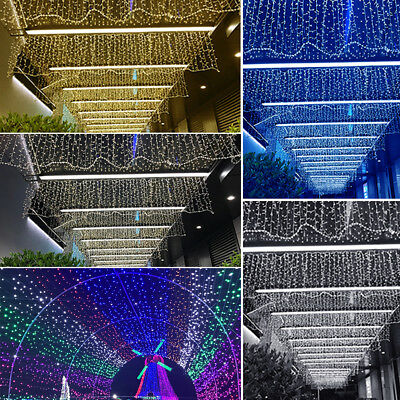 Led String Fairy Lights Net Mesh Curtain Wedding Party Xmas Tree Garden Home Uk • 11.59£