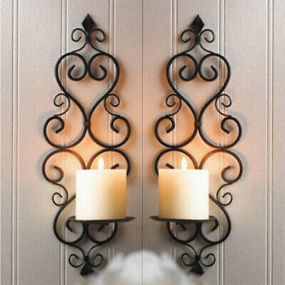 £9.95 • Buy Wall Candle Sconces Vintage Swirling Iron Wall Hanging Decorative Candle Holder