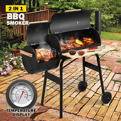 AU139.95 • Buy 2 In 1 BBQ Smoker Charcoal Grill Roaster Portable Offset Outdoor Camping