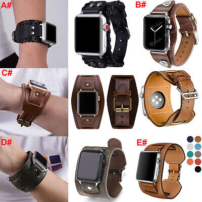 AU17.17 • Buy Leather Wrist Band Cuff Strap For Apple Watch IWatch Series SE 6 5 4 3 40mm 44mm