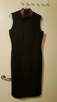 AU66 • Buy Carla Zampatti Black And Purple High Neck Pencil Dress Size 6-8 Sleeveless