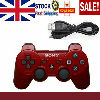 HOT Red PS3 Controller PlayStation DualShock 3 Wireless SixAxis GamePad UK • 12.79£