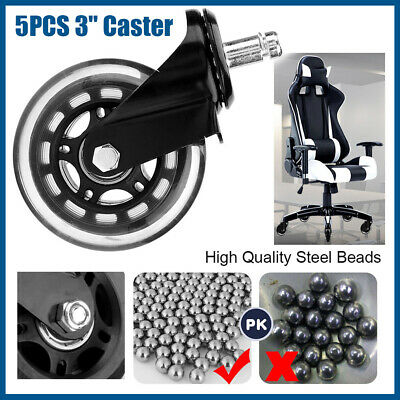 AU23.89 • Buy 5pcs 3  Rollerblades Office Chair Wheels Replacement Rolling Casters 75mm Black