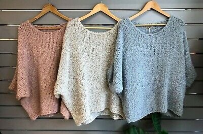 Lagenlook Boxy Wide Square BAGGY Oversized Knit Pink Top OSFA  FALLENSAINTS • 39£