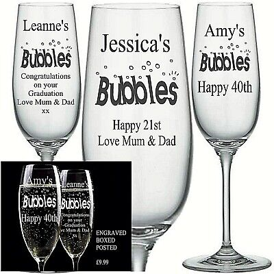 Personalised Engraved CHAMPAGNE FLUTE GLASS BUBBLES BIRTHDAY 21ST 18TH 40TH Etc • 9.99£