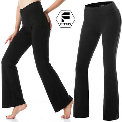 Womens High Waist Yoga Pants Flare Wide Leg Bootcut Gym Fitness Trousers Workout • 5.99£