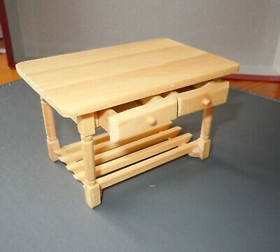 Dolls House Emporium, Pine Wood Table With Slatted Shelf/drawers, 1/12th Scale.  • 5.99£