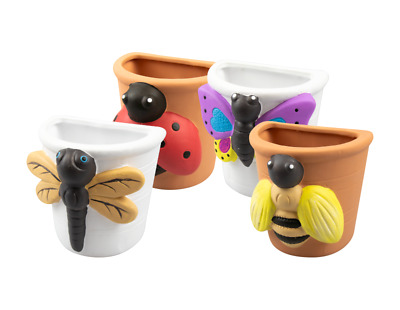 EVERBUY Pack Of 4 - Insect Wall Planter Vase - Flower Pots Herb Garden • 14.99£