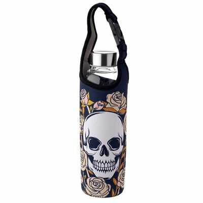 Skull And Roses Reusable Reinforced Glass Water Bottle With Sleeve And Handle • 9.95£