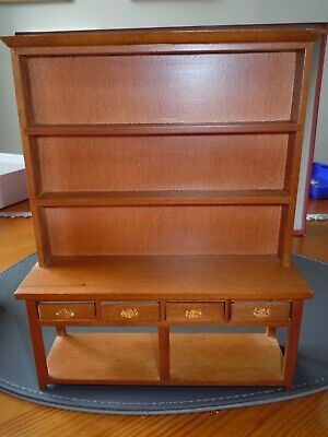 Dolls House Emporium, Large, Oak Coloured Welsh Potboard Dresser, 1/12th Scale.  • 19.99£