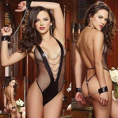 $8.73 • Buy Womens Sexy Lingerie Bodysuit Chains Mesh G-String Sleepwear Cosplay Outfits