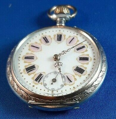Rare REMONTOIR - Cylindre 6 Rubis 800 Silver Engraved Pocket Watch • 150£