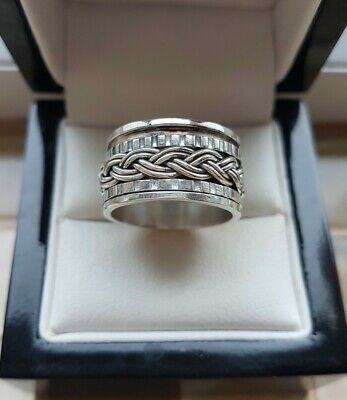 £23.99 • Buy 925 Sterling Silver Wide Spinner / Spinning Band Ring - New