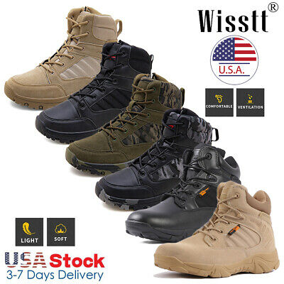 $39.99 • Buy Mens Military Tactical Desert Work Boots Side Zip Hiking Motorcycle Combat Shoes