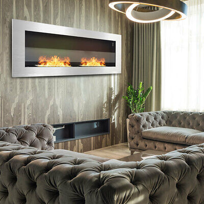 Wall Mount Insert Bio Ethanol Fireplace Stove 2 Burners Living Room Indoor Fire • 219.95£