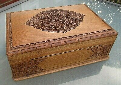 Antique Large Carved Wooden Jewellery / Collectors Box / Coin Chest / Tabletop • 240£