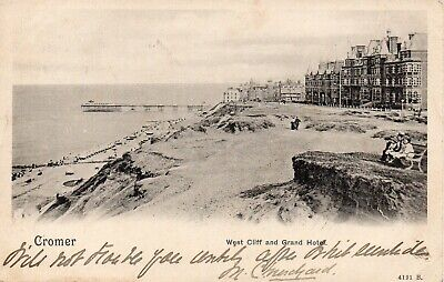 EARLY VINTAGE POSTCARD.WEST CLIFF AND GRAND HOTEL CROMER.NORFOLK.No 4191. • 2.55£