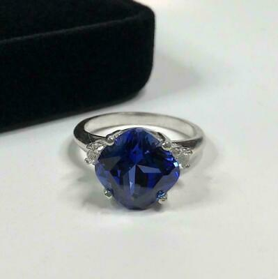 AU108.04 • Buy 925 Sterling Silver Certified 4.25 Ct Blue Sapphire Cushion Shape Cluster Ring