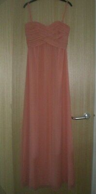Ladies Size 6 (0) Coral Silk Strappy/strapless Full Length Dress Ted Baker • 4.99£