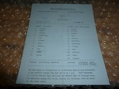 Watford Reserves V Southend United Reserves On Wednesday 15th October 1969. • 4.99£