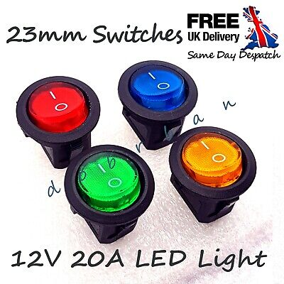 12V 20A Round Rocker Switch ON/OFF LED Illuminated Car Dashboard Dash Boat Van • 1.94£