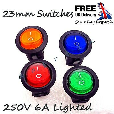 250V 6A Round ROCKER SWITCH ON/OFF I/O 1/0 Light Illuminated Bulb Lamp 23mm UK • 1.94£