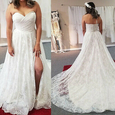 $ CDN157.29 • Buy Romantic Sweetheart A Line Wedding Dresses Pleated Bodice High Split Long Train