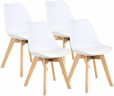 AU104.49 • Buy 4 X Furgle Retro Replica PU Padded DSW Beech Dining Chairs Cafe Kitchen