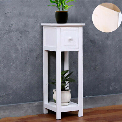 Small Telephone Table Plant Stand Bedside Hall Lamp Wood Unit Side Drawer White • 32.49£