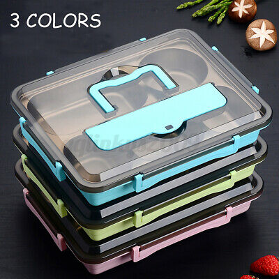 AU18.57 • Buy 4/5 Grid Stainless Steel Thermal Insulated Lunch Box Bento Food Picnic Container