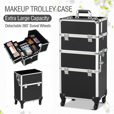 $76.49 • Buy Professional Makeup Case Rolling Makeup Case Lock Cosmetic Storage Case Used