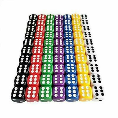 $10.81 • Buy 6 Sided Dice Set 16mm Acrylic Dice 7 Color Board Games Activity Party 70 Pieces