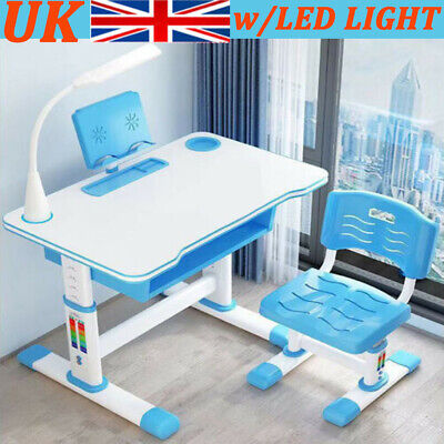 Kids Study Desk Chair Set Children Drawing Painting Writting Table Adjustable UK • 82.99£