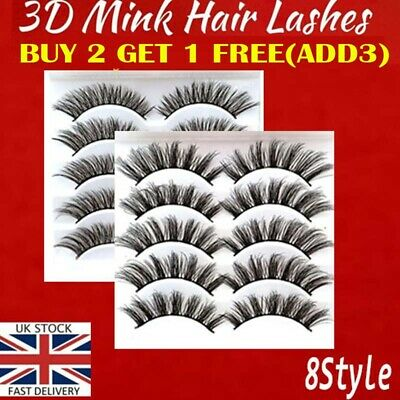5Pairs 3D Natural False Eyelashes Long Thick Mixed Fake Eye Lashes Makeup Mink • 2.29£