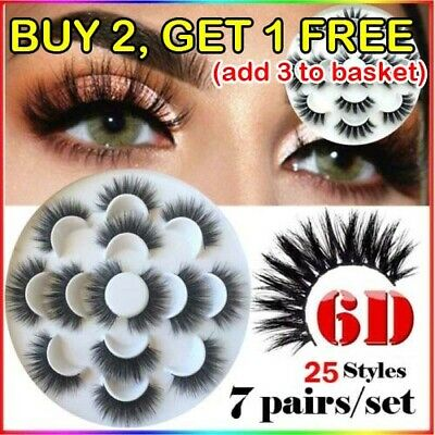 7 Pairs 6D Mink Hair False Eyelashes 25mm Lashes Thick Wispy Fluffy Curl Long UK • 2.79£