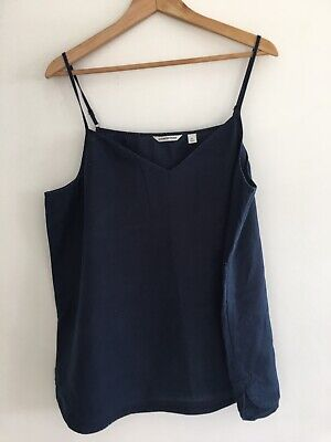 AU10 • Buy Country Road Navy Blue 100% Linen Top XL