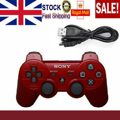 UK HOT Red PS3 Controller PlayStation DualShock 3 Wireless SixAxis GamePad NEW • 11.95£