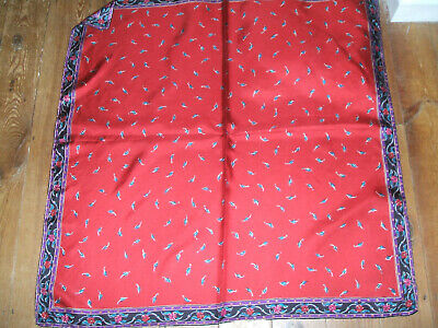 Silk Scarf Laura Ashley Italian Hand Rolled Hand Printed Red With Border • 29£