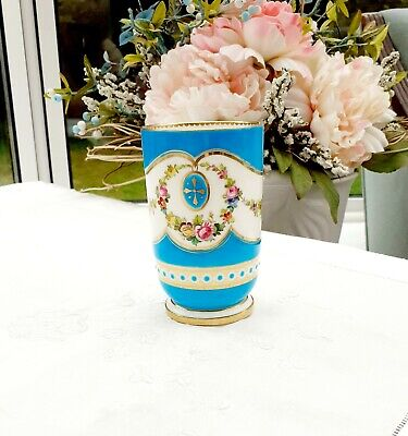 Mintons Jeweled Footed Hp Porcelain Spill Vase Turquoise Enamel Hp Floral Swags. • 24.99£